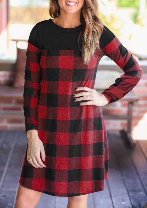 Buffalo Plaid Splicing Long Sleeve Mini Dress