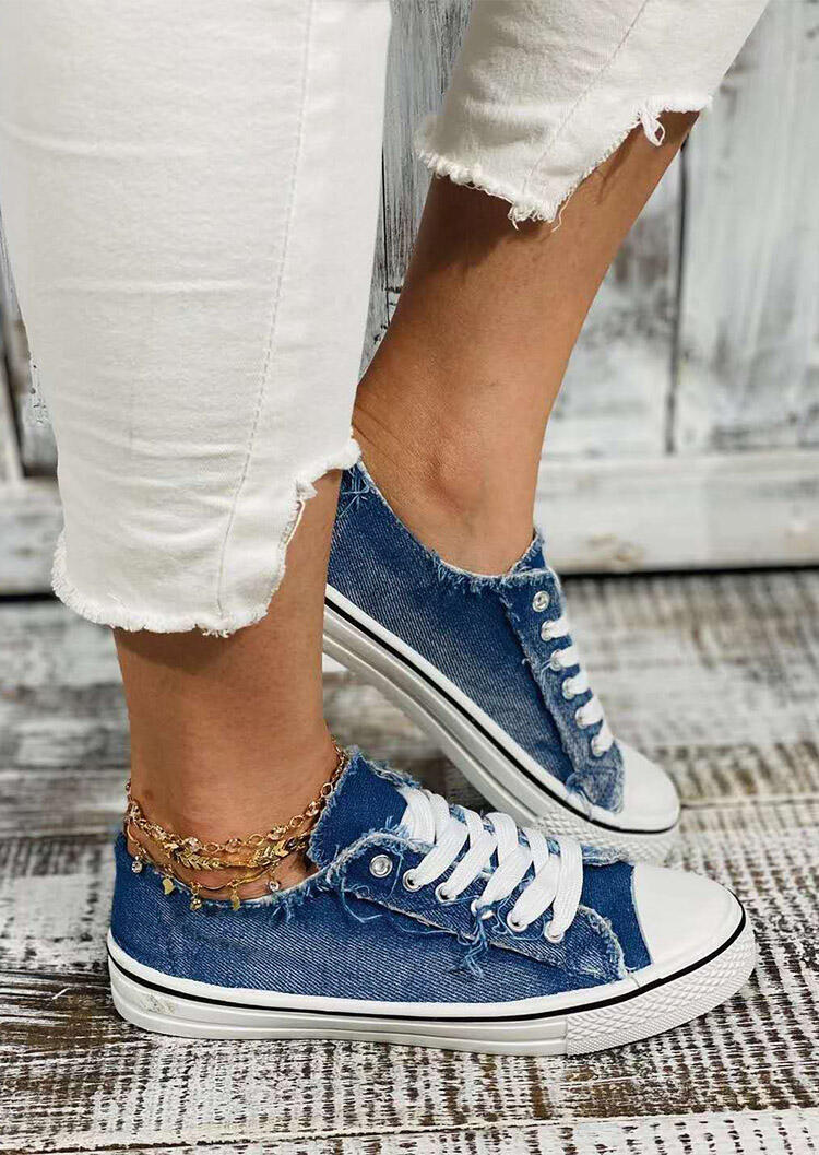 Denim Style Lace Up Flat Canvas Sneakers