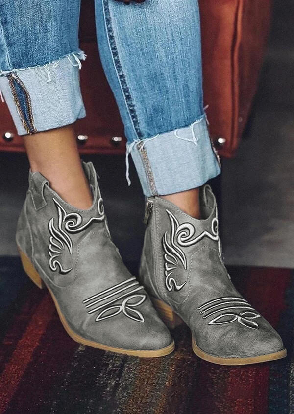 Western Cowgirl Slip On Chunky Heel Ankle Boots - Gray