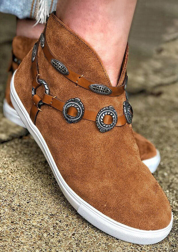 Button Slip On Round Toe Flat Sneakers - Brown