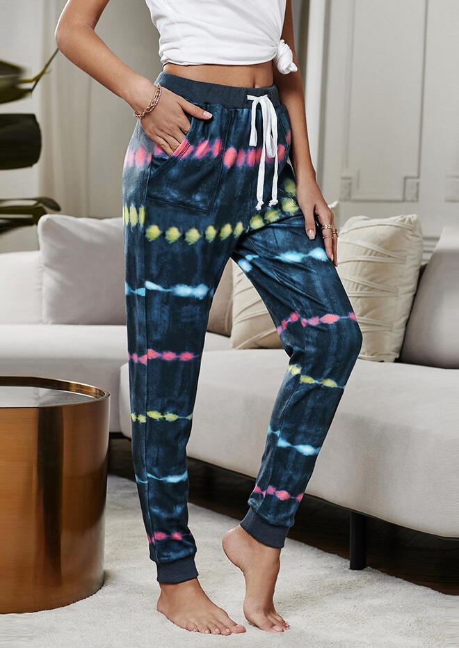 Tie Dye Pocket Drawstring Pants - Blue