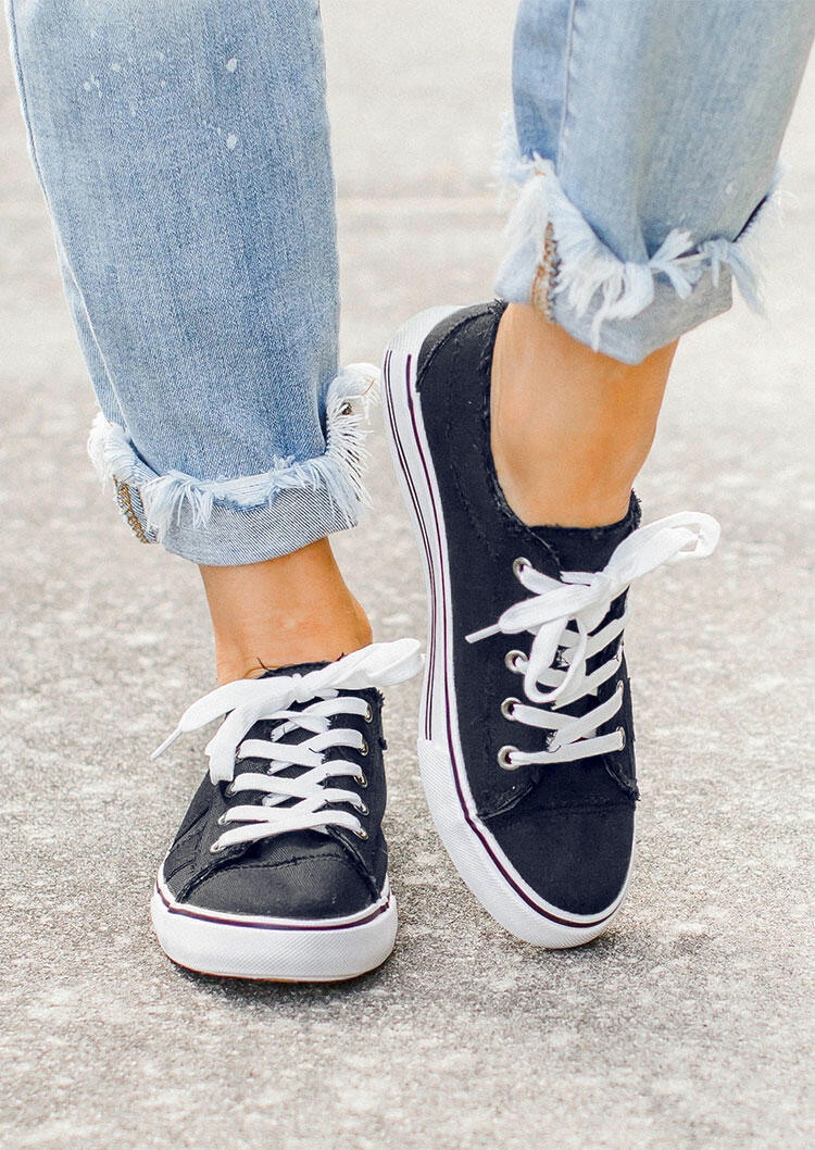 Lace Up Round Toe Flat Canvas Sneakers - Navy Blue