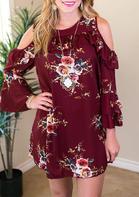 Presale - Floral Ruffled Cold Shoulder Mini Dress - Burgundy