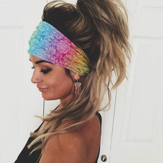 Paisley Elastic Yoga Sports Wide Headband