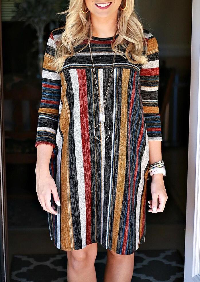 Colorful Striped Splicing Long Sleeve Mini Dress