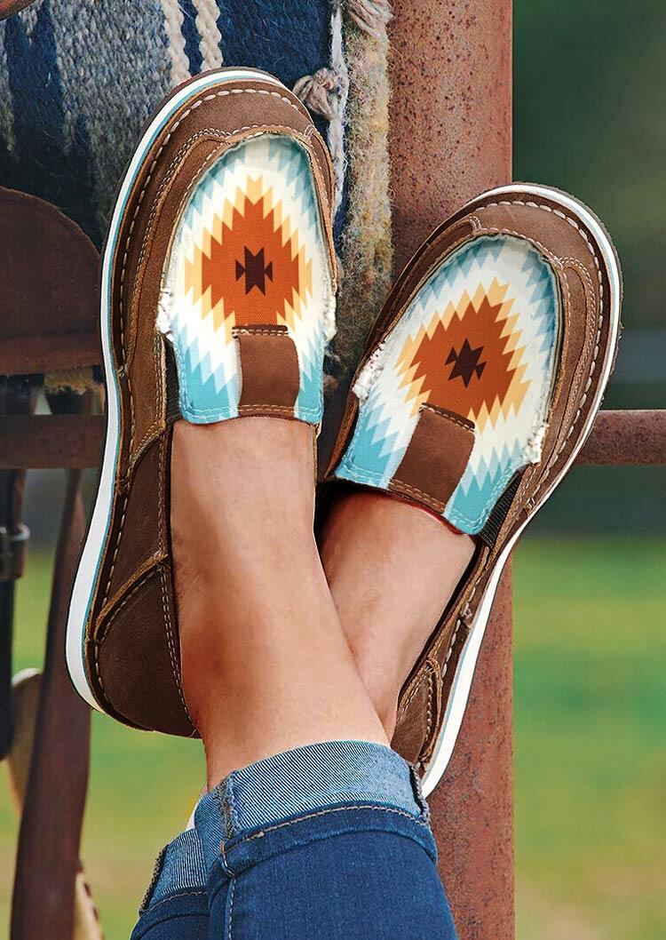 Aztec Geometric Slip On Flat Canvas Sneakers - Coffee