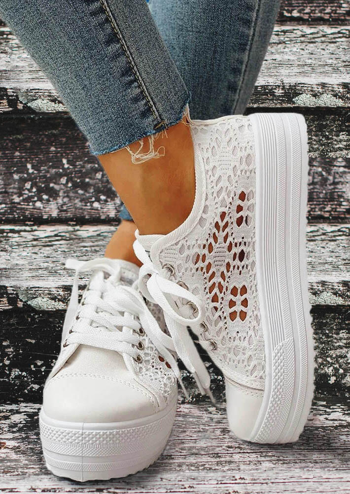 Lace Hollow Out Round Toe Platform Sneakers - White