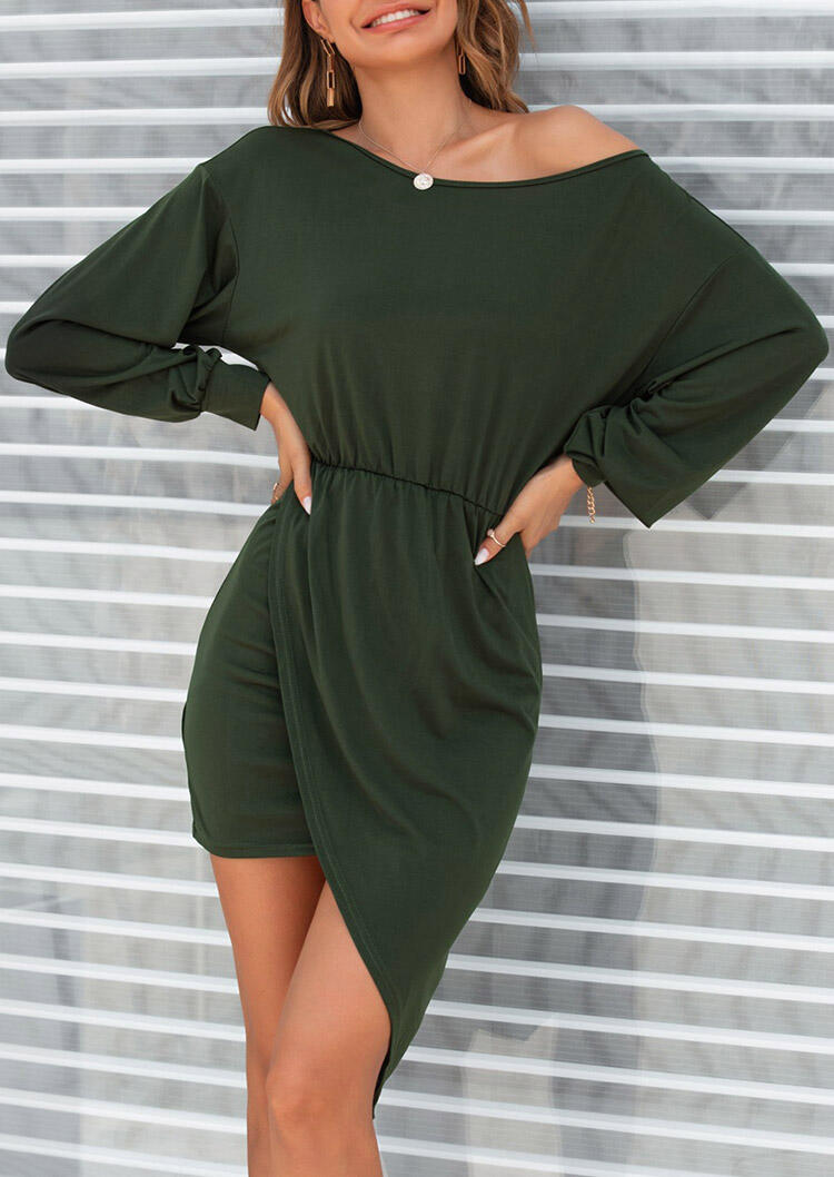 Ruffled Wrap Ruffled Asymmetric Bodycon Dress - Dark Green
