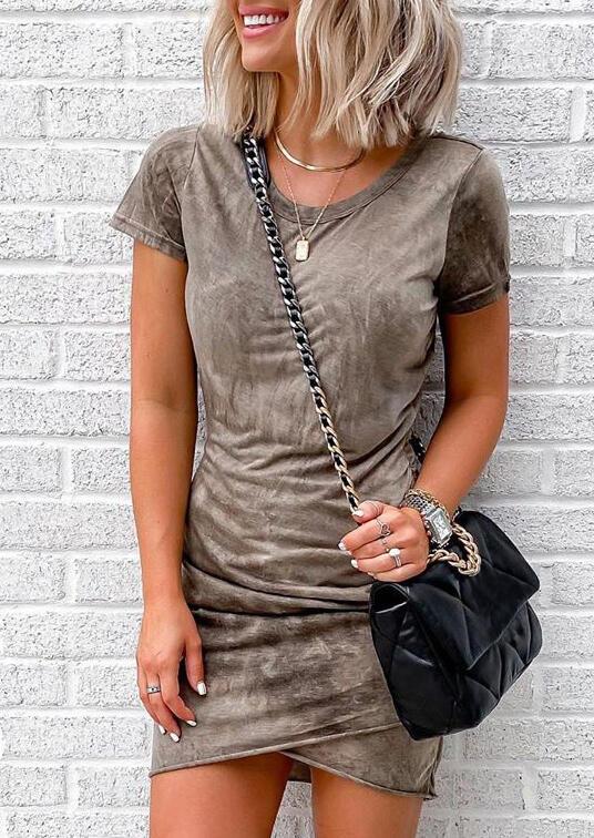 Tie Dye Wrap Ruffled Bodycon Dress - Light Brown