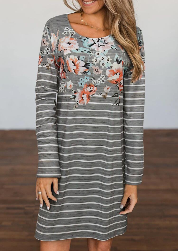 Floral Striped Splicing Long Sleeve Loose Mini Dress - Gray