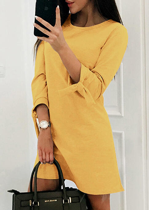 Bowknot O-Neck Three Quarter Sleeve Mini Dress - Yellow