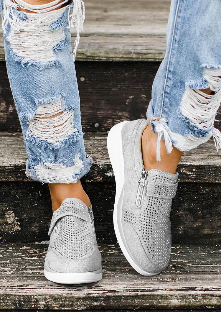 Rhinestone Zipper Splicing Round Toe Sneakers - Gray
