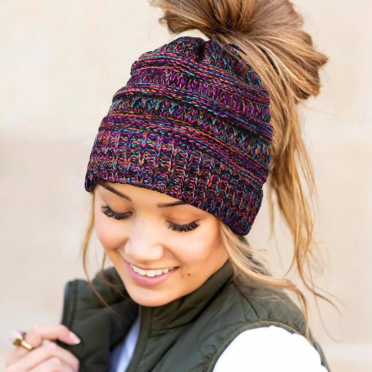 Winter Warm Knitted Ponytail Beanie Hat