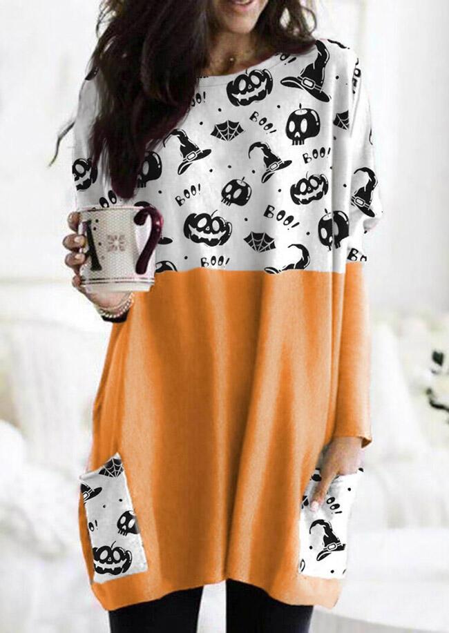 Halloween Pumpkin Color Block Splicing Pocket Mini Dress - Orange
