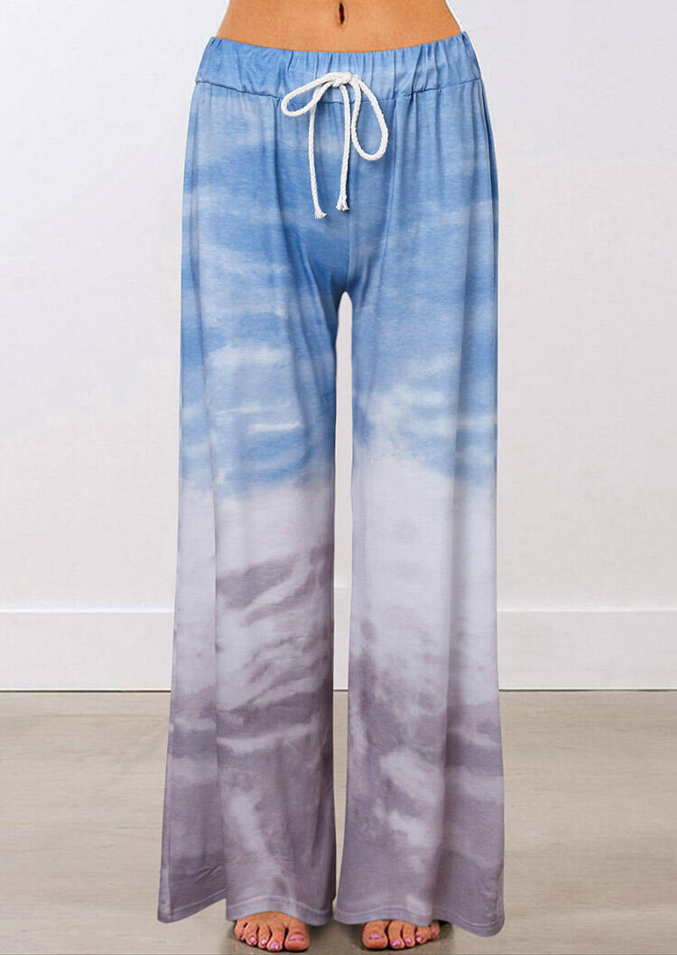 Tie Dye Gradient Drawstring Elastic Waist Casual Wide Leg Pants