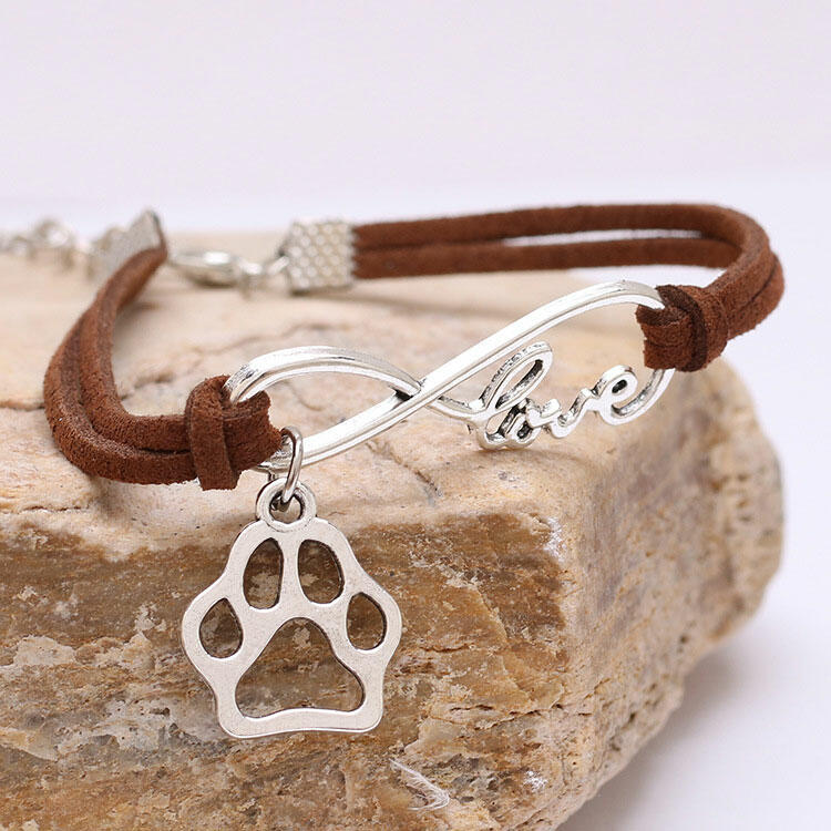 Hollow Out Paw Pendant Love Rope Bracelet