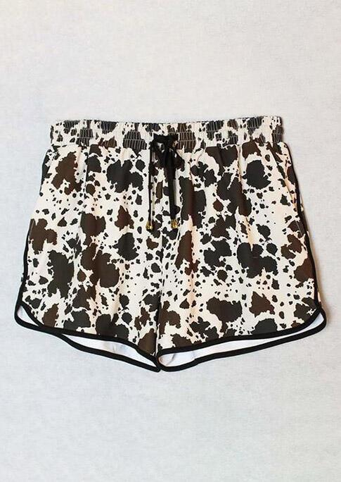Cow Leopard Pocket Drawstring Shorts - Apricot