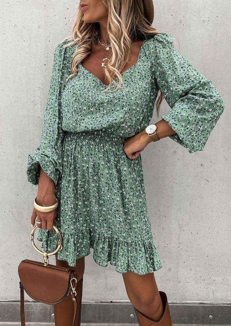 Floral Ruffled Elastic Waist V-Neck Mini Dress - Green
