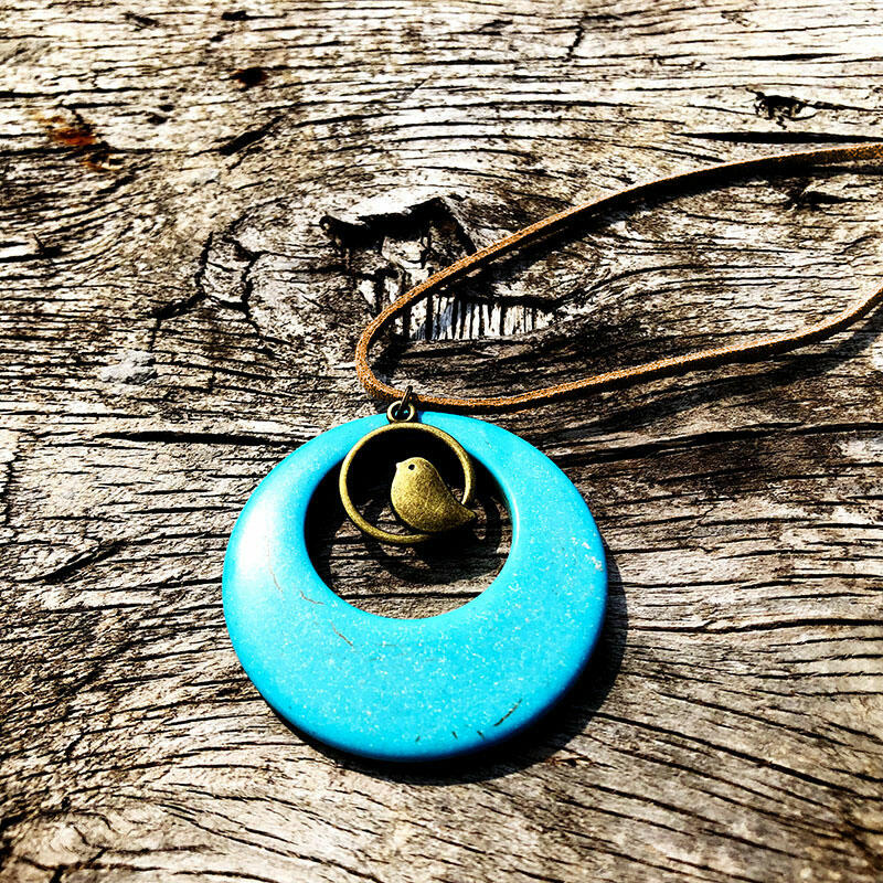 Bohemian Hollow Out Turquoise Bird Sweater Chain Necklace