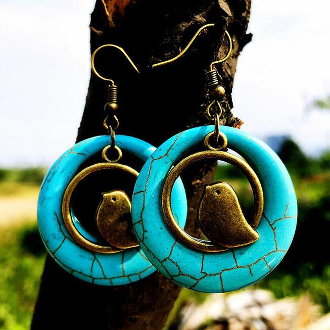 Bohemian Turquoise Bird Nest Swirl Earrings