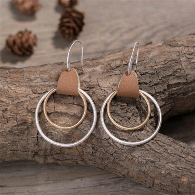 Enchanting Double Circle Leather Earrings