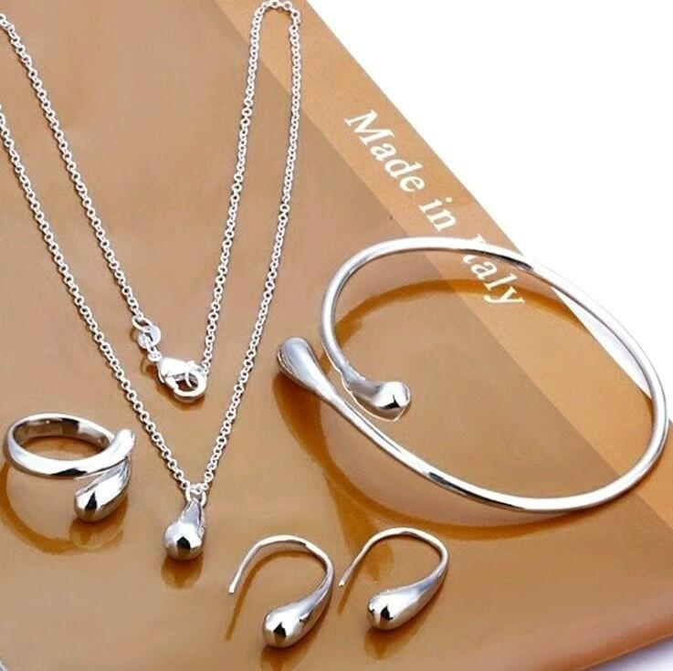 4Pcs Creative Droplet Ring Necklace Earrings And Bracelet Set