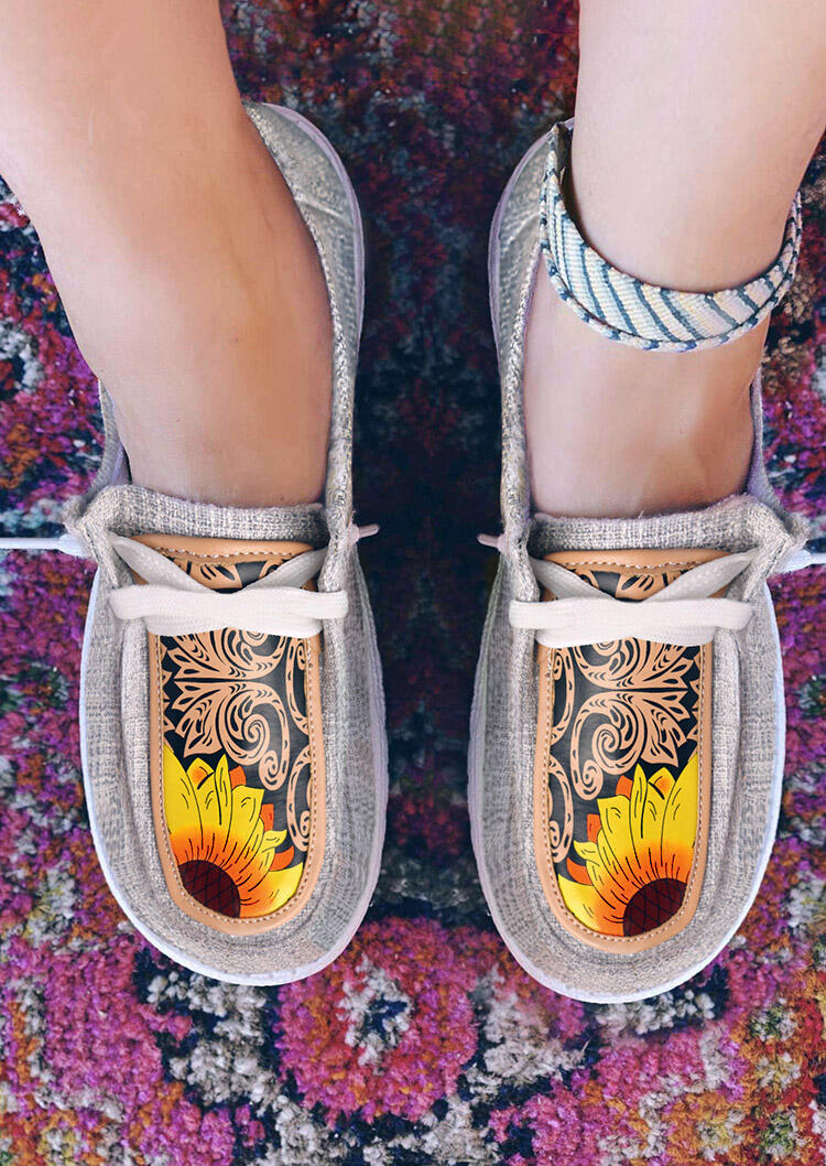 Sunflower Paisley Lace Up Flat Canvas Sneakers - Gray