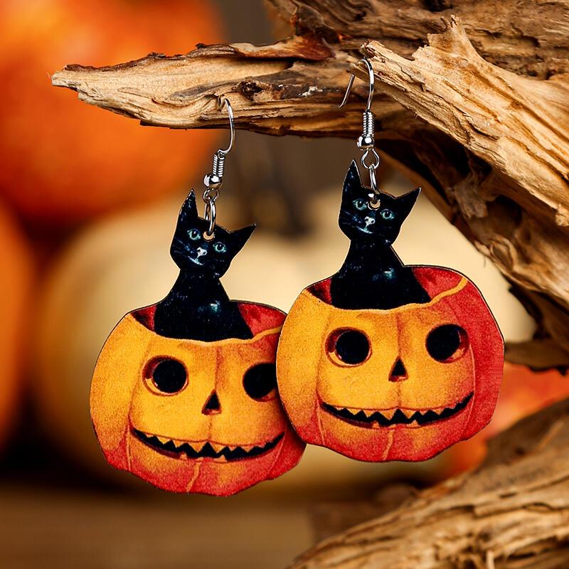 Halloween Black Cat Pumpkin Face Wooden Earrings