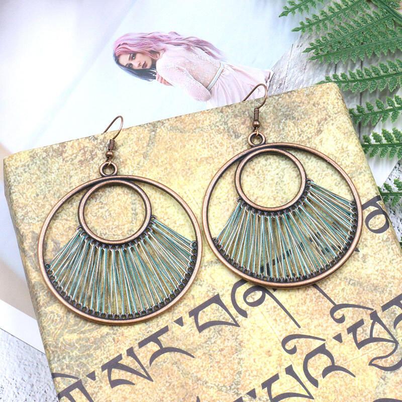 Vintage Hollow Out Circle Tassel Earrings