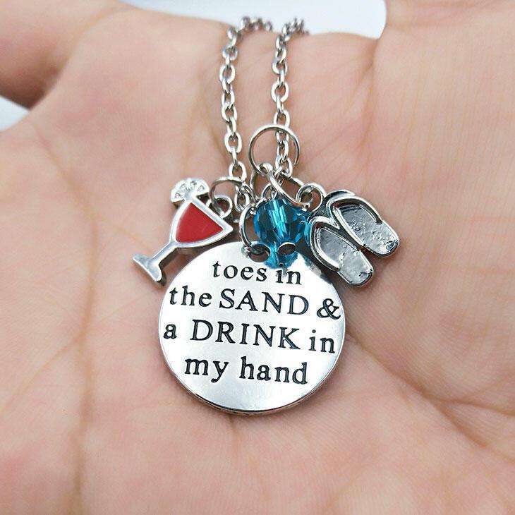 Wineglass Flip Flops Beading Pendant Necklace