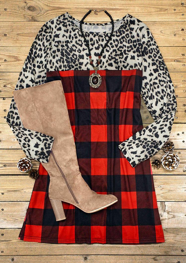 Christmas Leopard Buffalo Plaid Lace Splicing Mini Dress