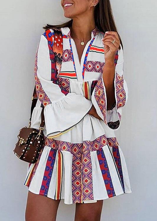 Aztec Geometric Star Ruffled V-Neck Mini Dress