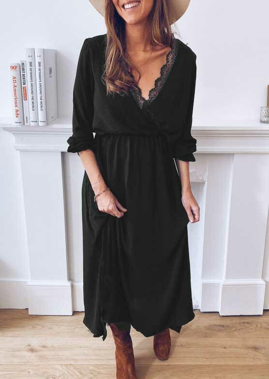 Lace Splicing Wrap Elastic Cuff Slit Maxi Dress - Black