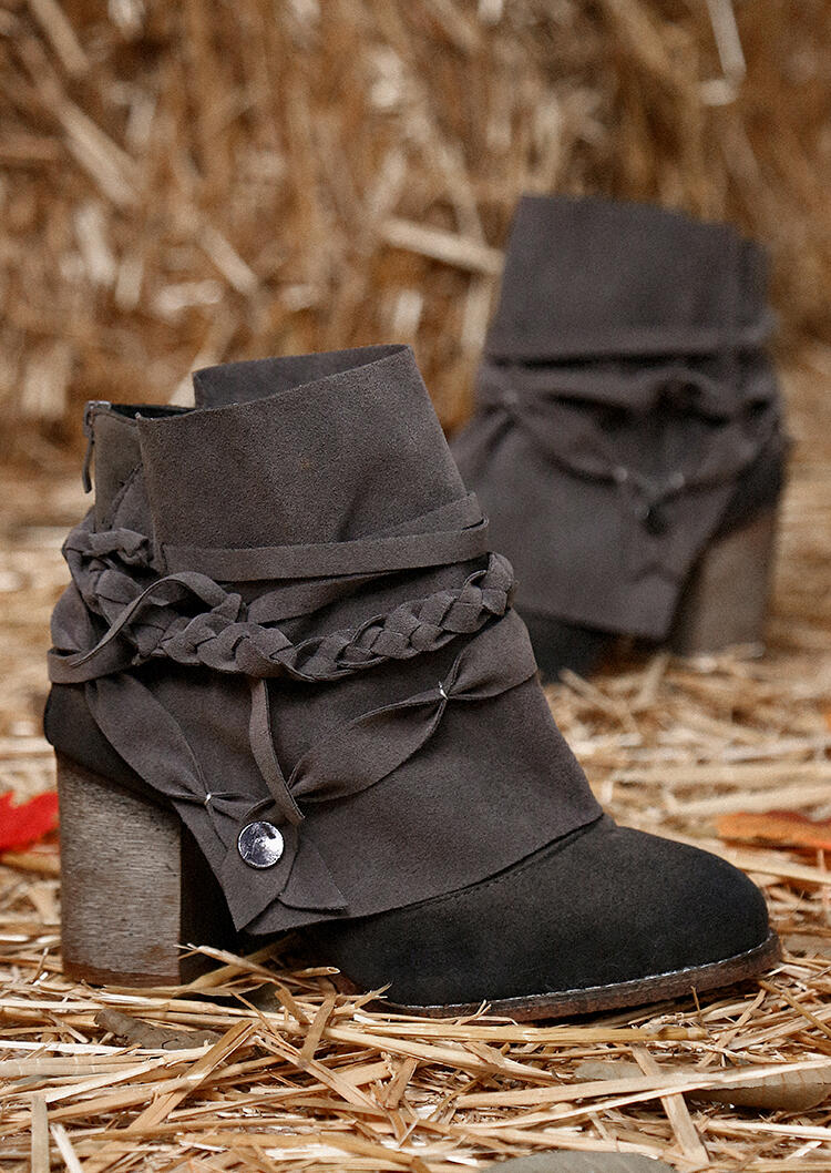 Zipper Braid Chunky Heel Ankle Boots - Gray