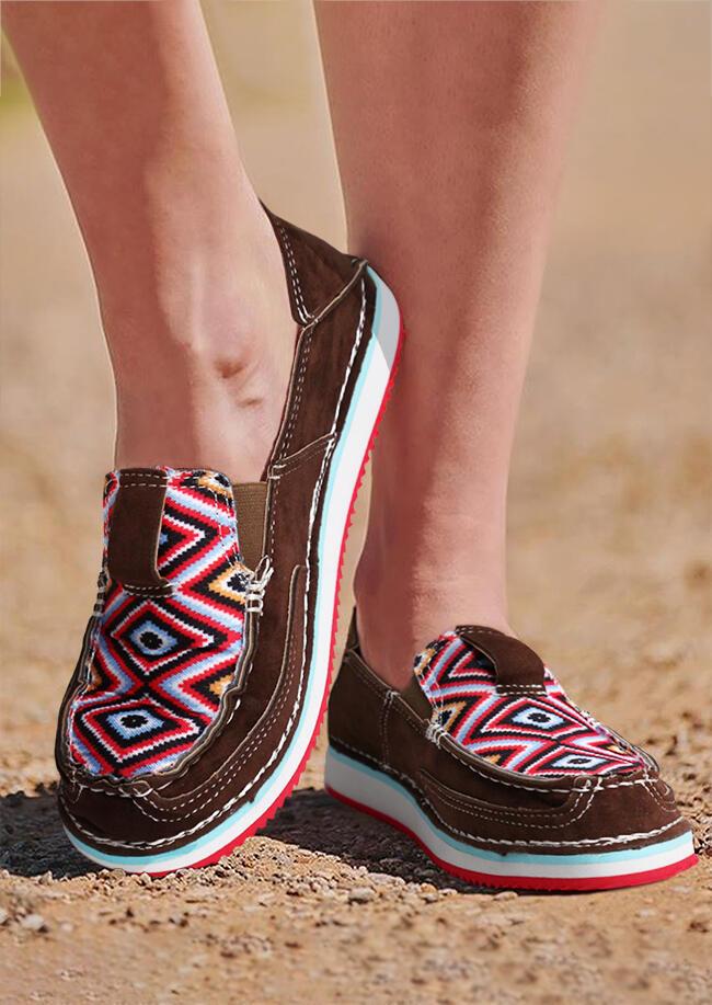 Aztec Geometric Slip On Flat Sneakers - Dark Brown