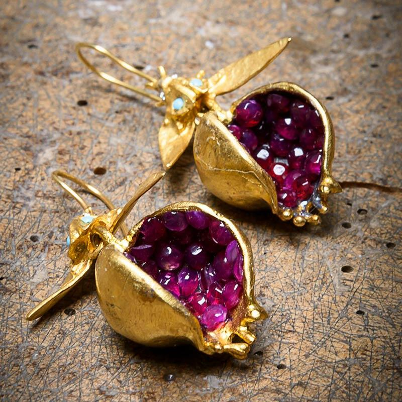 Creative Beading Pomegranate Alloy Earrings