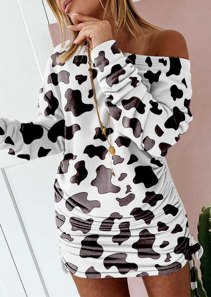 Cow Drawstring Tie Ruched Long Sleeve Mini Dress - White