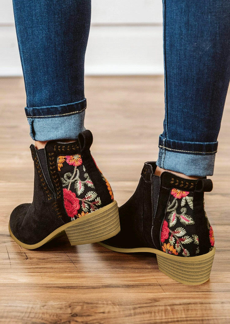 Floral Splicing Chunky Heel Ankle Boots - Black