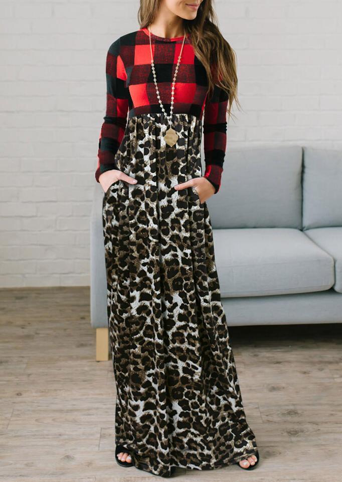 Christmas Buffalo Plaid Leopard Pocket Long Sleeve Maxi Dress