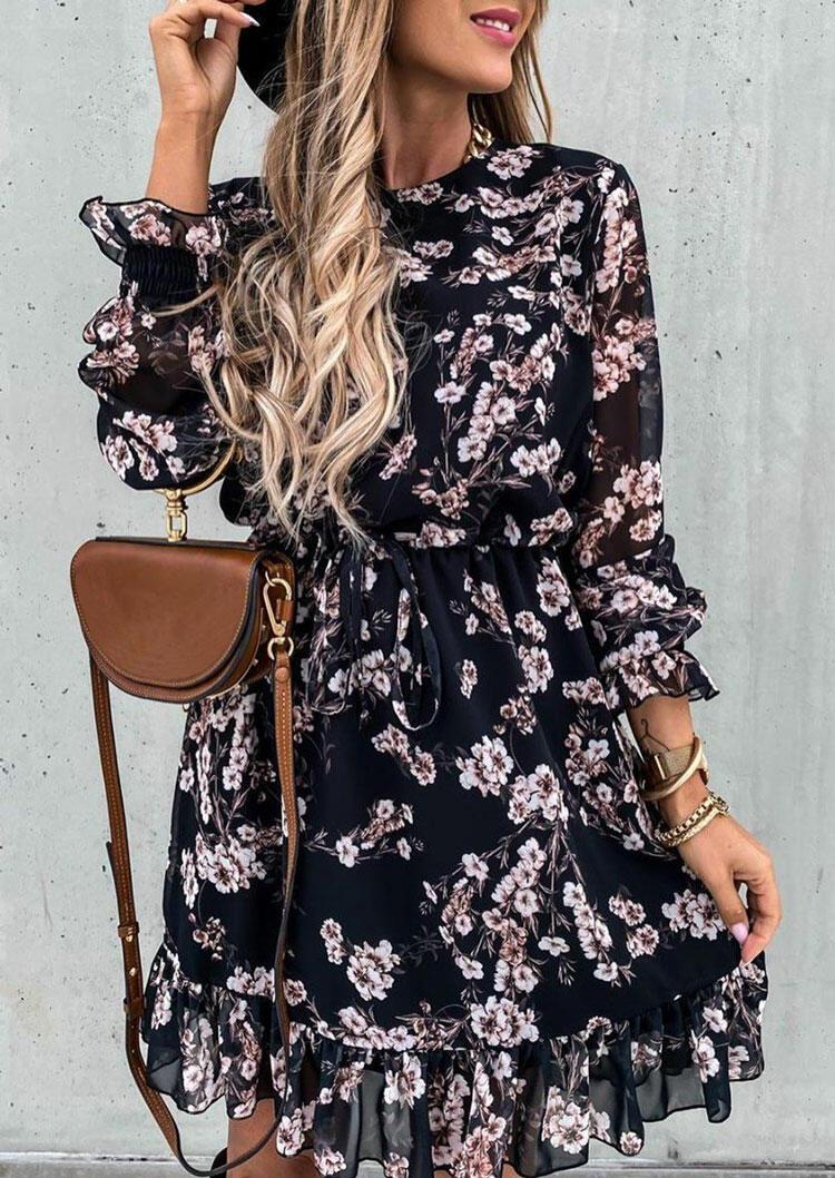 Floral Ruffled Drawstring Elastic??Cuff Mini Dress - Black