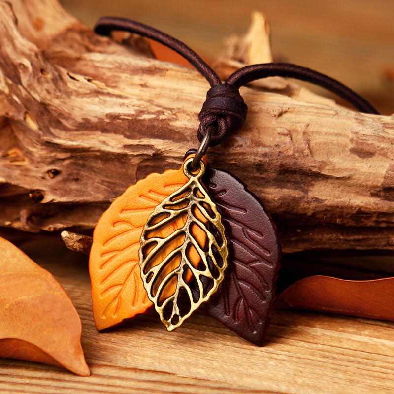 Vintage Hollow Out Leaf Long Sweater Rope Necklace