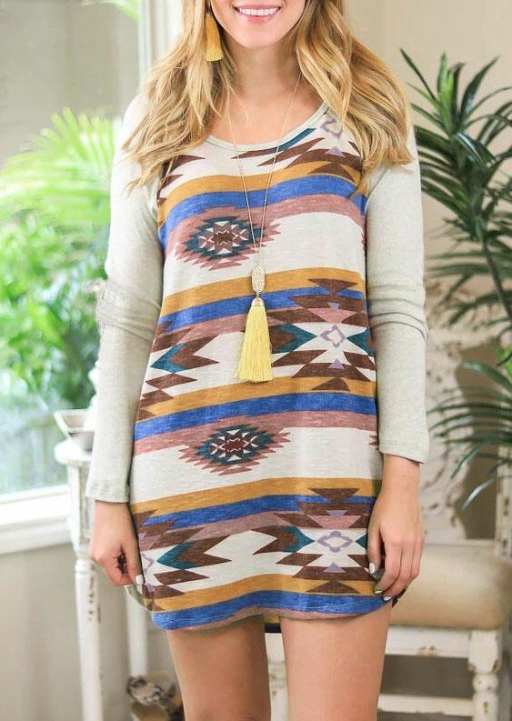 Aztec Geometric Colorful Striped Splicing Mini Dress - Gray