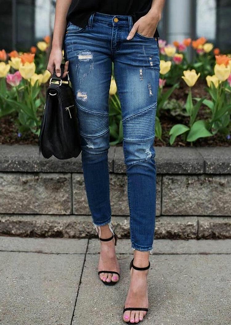 Ripped Hole Pocket Ruffled Denim Jeans - Blue