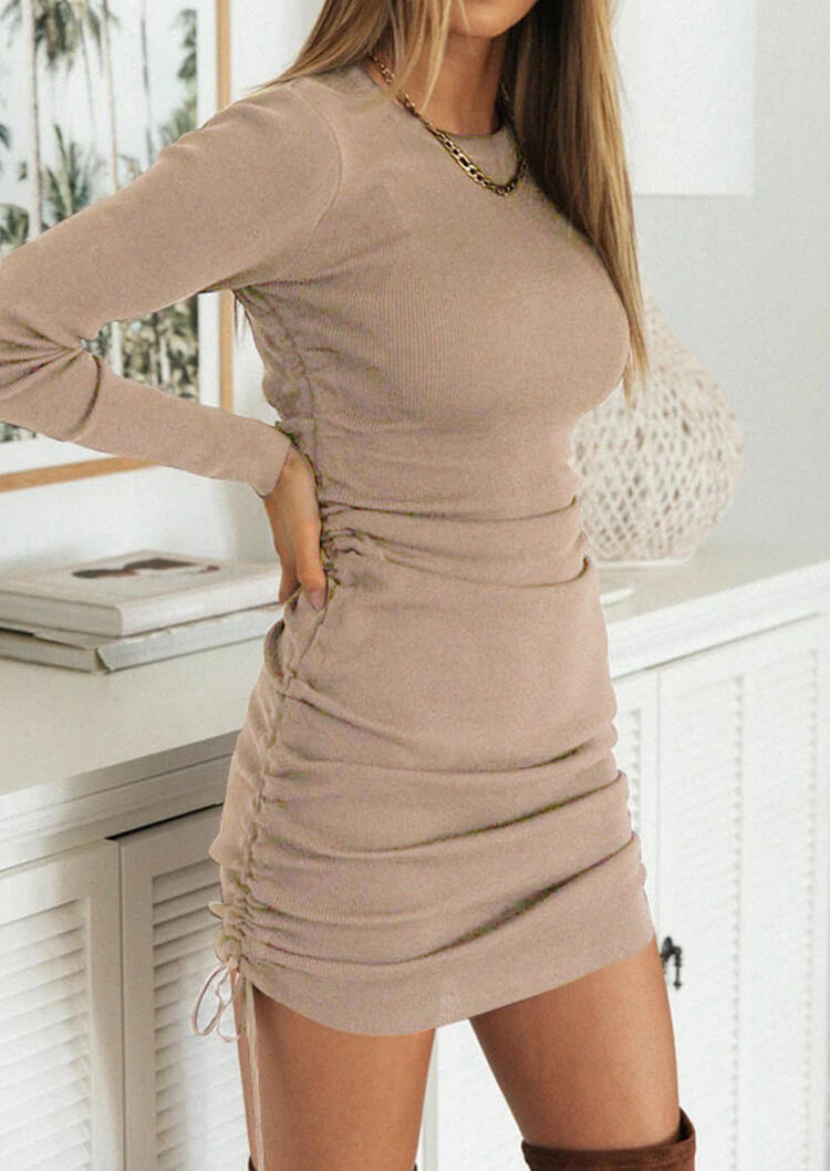 Ruched Drawstring Long Sleeve Bodycon Dress - Khaki