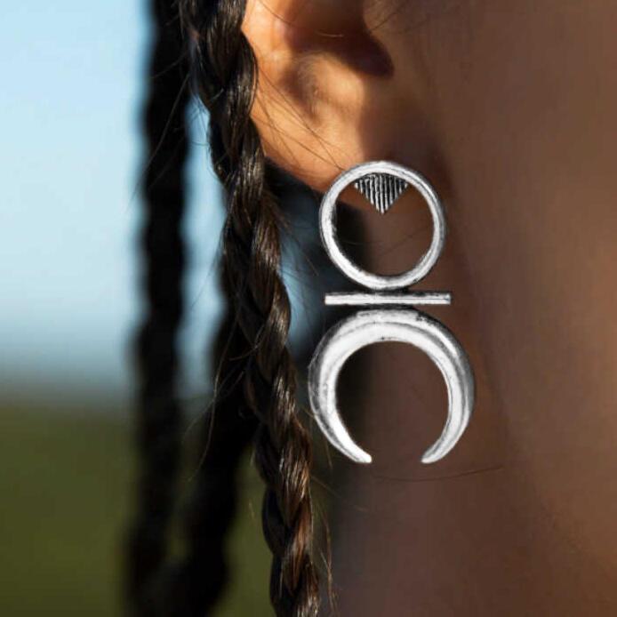 Vintage Ethnic Style Crescent Moon Stud Earrings