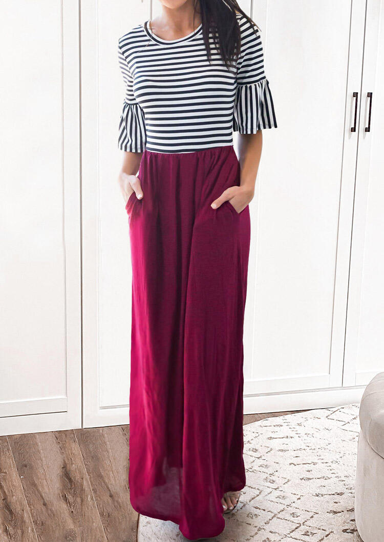 Striped Ruffled Splicing Pocket O-Neck Maxi Dress