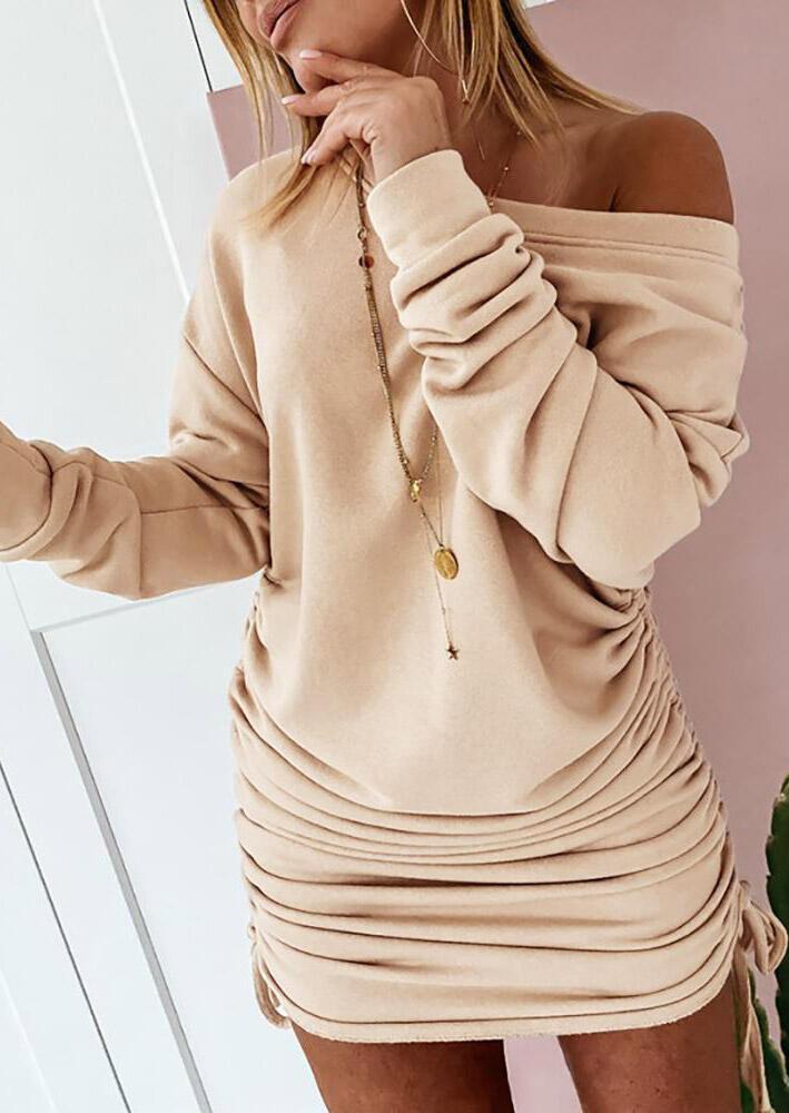 Drawstring Tie Ruched Long Sleeve Slash Neck Mini Dress - Khaki
