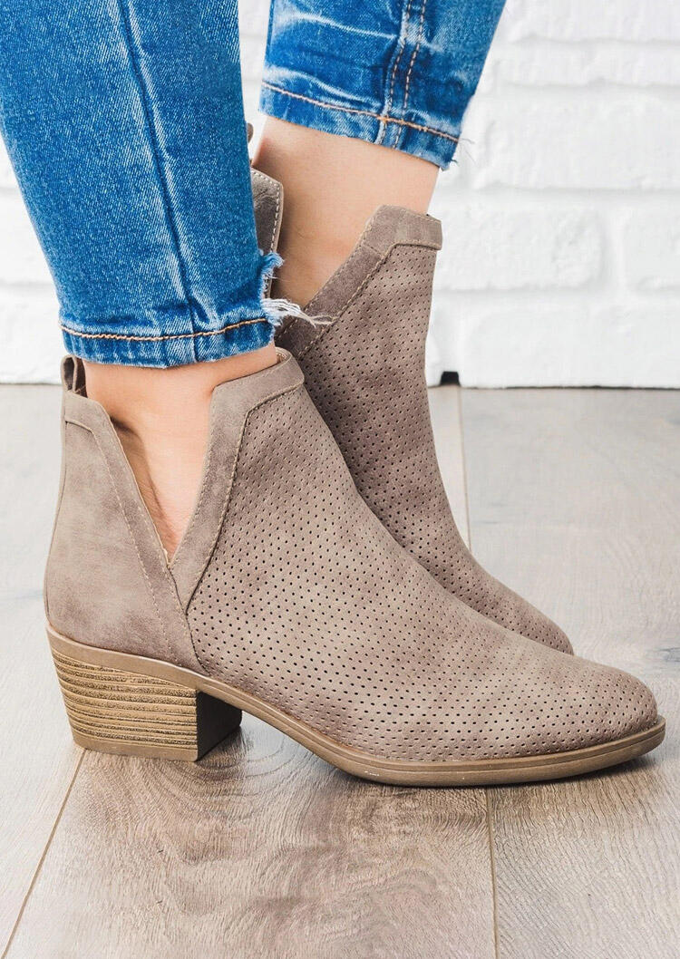 Chunky Heel Round Toe Ankle Boots - Light Coffee