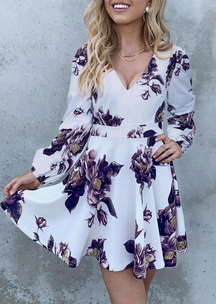 Floral V-Neck Long Sleeve Mini Dress - White