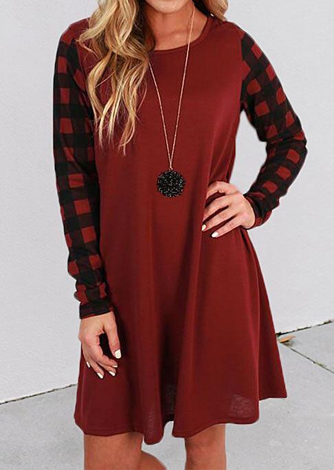 Christmas Buffalo Plaid Splicing O-Neck Mini Dress - Red